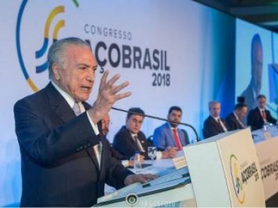 Presidente Michel Temer participa da abertura do Congresso Aço Brasil